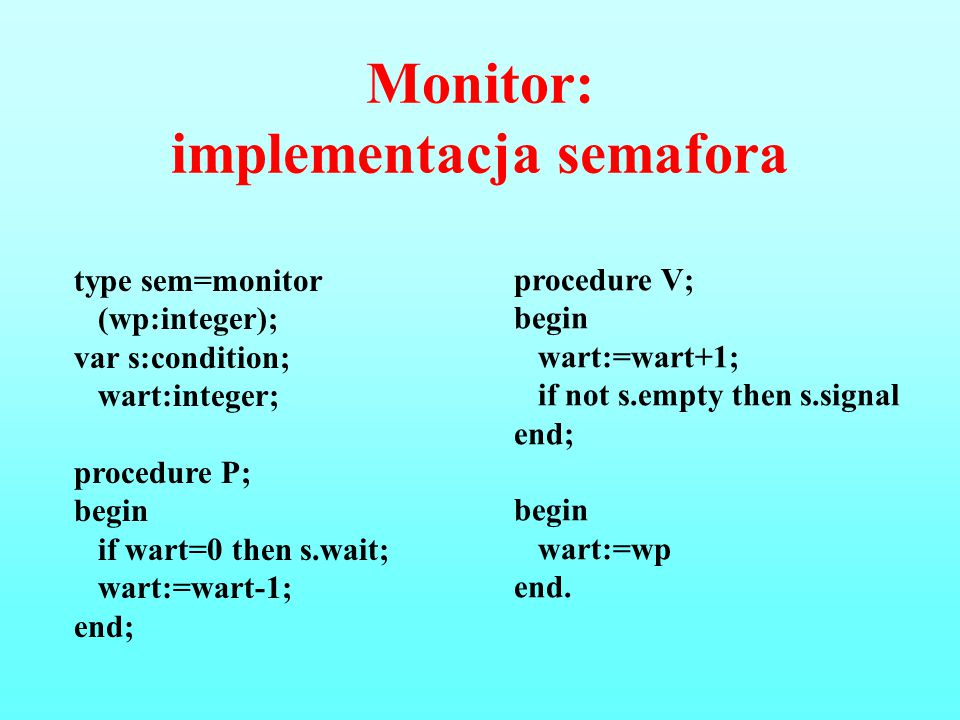 Monitor: implementacja semafora