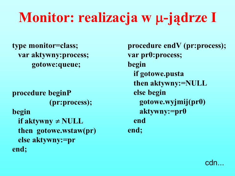 Monitor: realizacja w -jądrze I