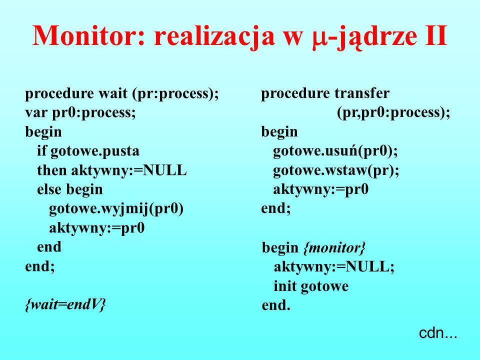 Monitor: realizacja w -jądrze II