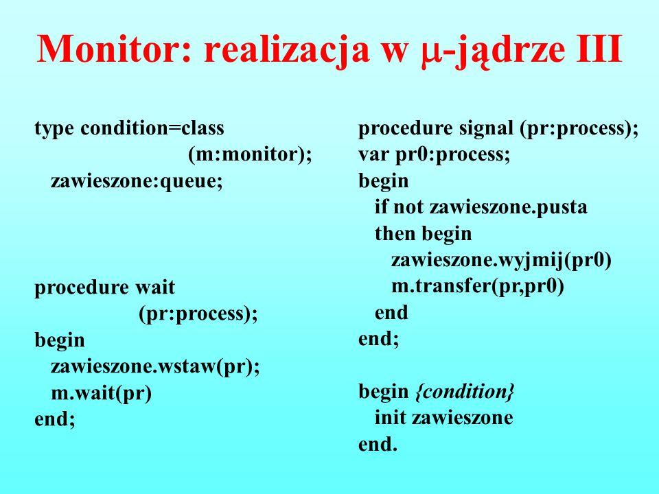 Monitor: realizacja w -jądrze III
