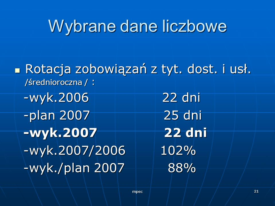 Wybrane dane liczboweRotacja zobowiązań z tyt. dost. i usł. /średnioroczna / : -wyk.2006 22 dni.