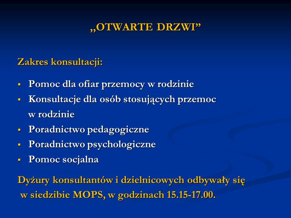 ,,OTWARTE DRZWI Zakres konsultacji: