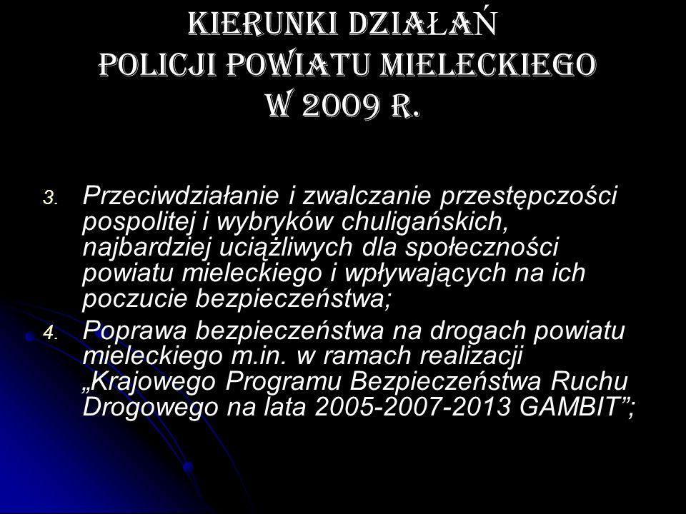 KIERUNKI DZIAŁAŃ POLICJI POWIATU MIELECKIEGO W 2009 r.