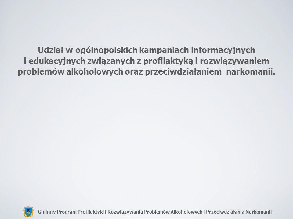 Udział w ogólnopolskich kampaniach informacyjnych i edukacyjnych związanych z profilaktyką i rozwiązywaniem problemów alkoholowych oraz przeciwdziałaniem narkomanii.