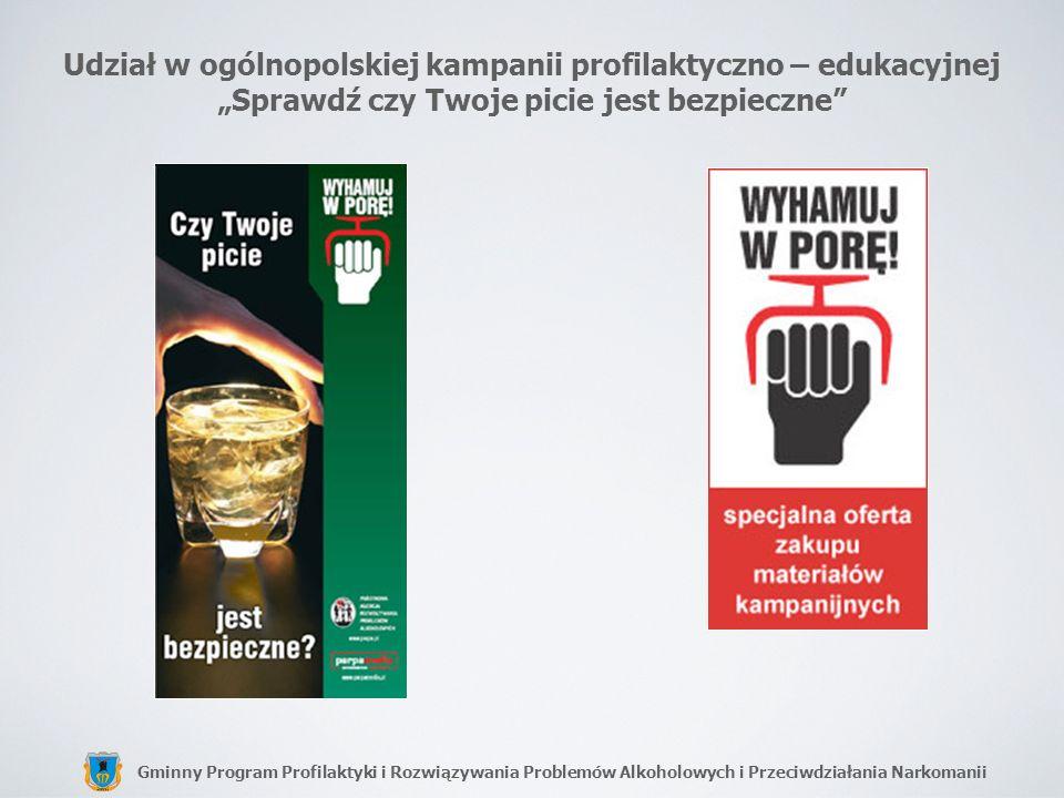 """Udział w ogólnopolskiej kampanii profilaktyczno – edukacyjnej """"Sprawdź czy Twoje picie jest bezpieczne"""