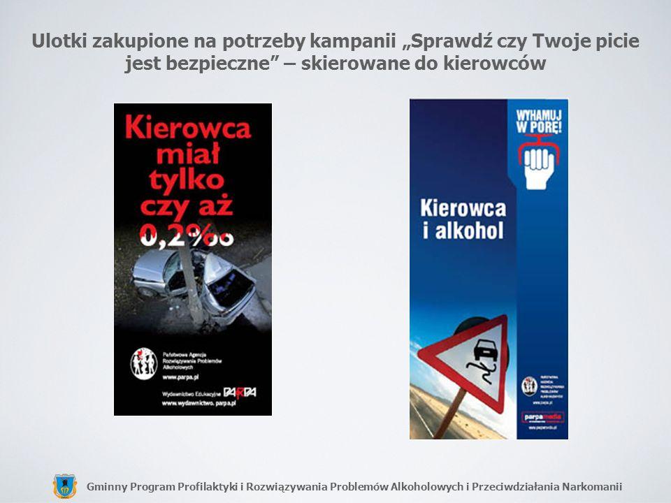 """Ulotki zakupione na potrzeby kampanii """"Sprawdź czy Twoje picie jest bezpieczne – skierowane do kierowców"""