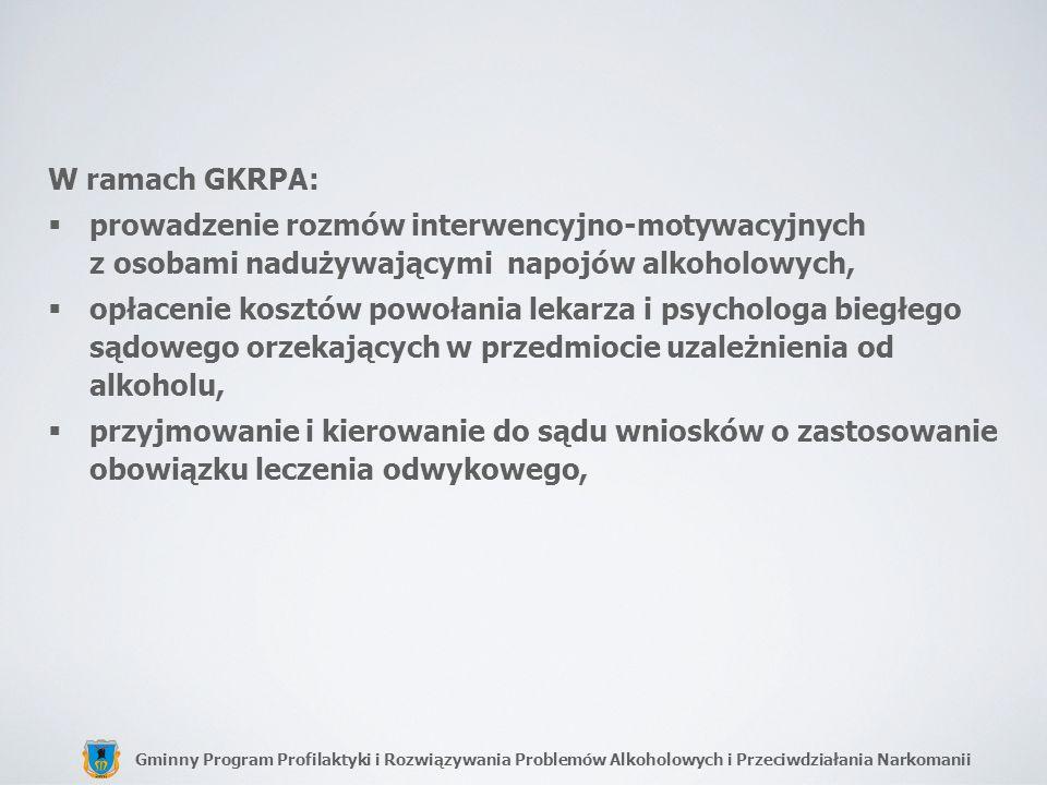 W ramach GKRPA:prowadzenie rozmów interwencyjno-motywacyjnych z osobami nadużywającymi napojów alkoholowych,