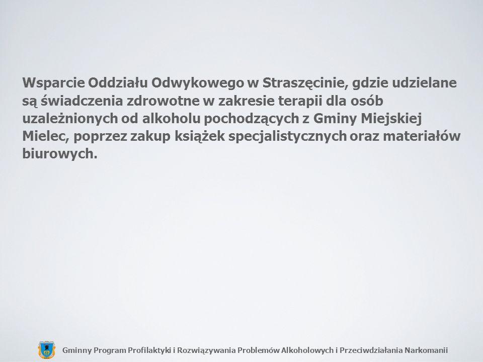 Wsparcie Oddziału Odwykowego w Straszęcinie, gdzie udzielane są świadczenia zdrowotne w zakresie terapii dla osób uzależnionych od alkoholu pochodzących z Gminy Miejskiej Mielec, poprzez zakup książek specjalistycznych oraz materiałów biurowych.
