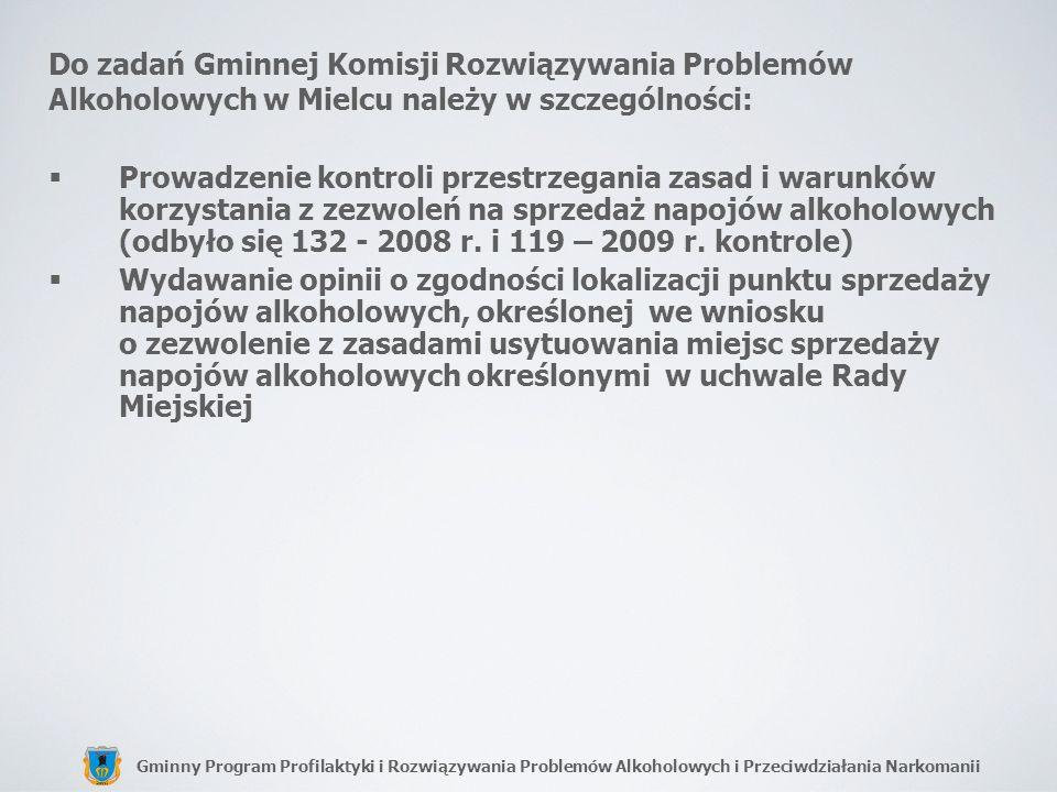 Do zadań Gminnej Komisji Rozwiązywania Problemów Alkoholowych w Mielcu należy w szczególności: