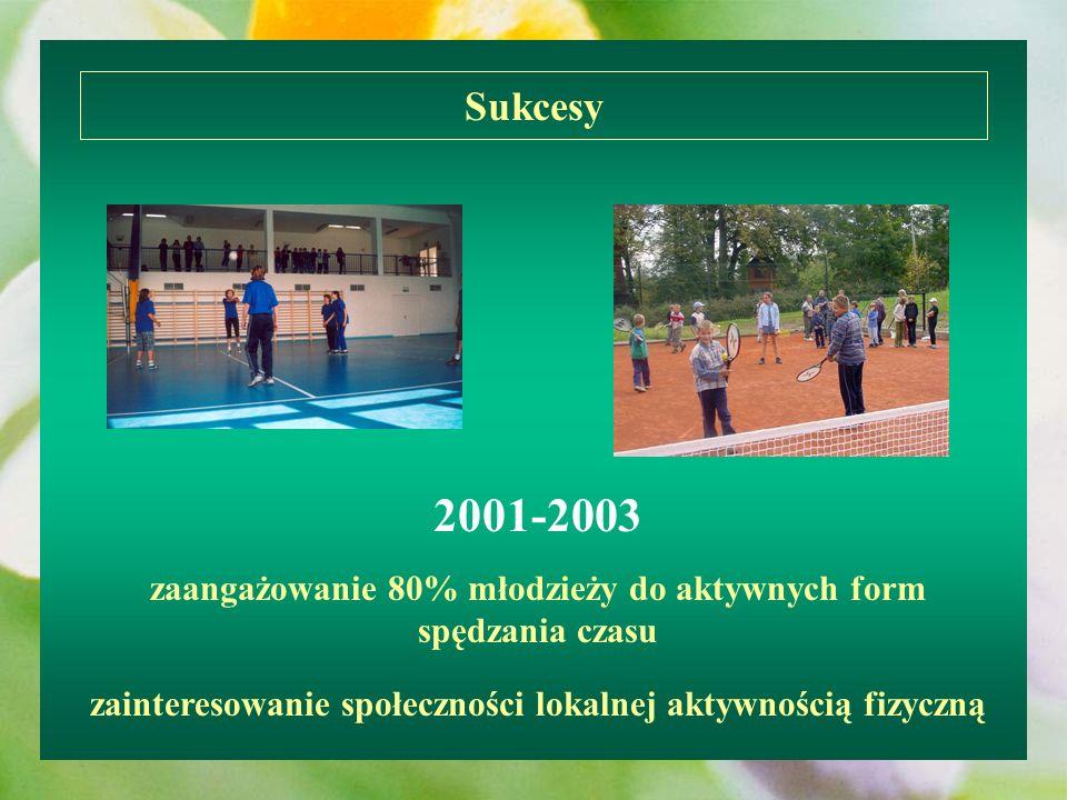 Sukcesy 2001-2003. zaangażowanie 80% młodzieży do aktywnych form spędzania czasu.
