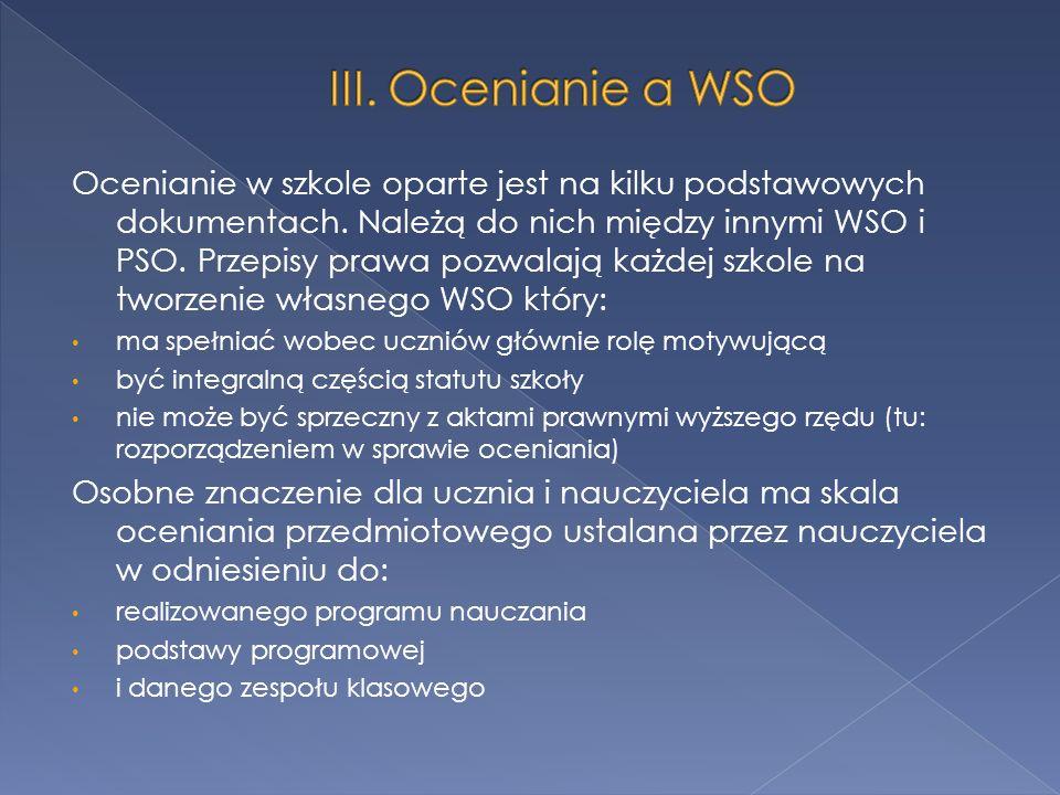 III. Ocenianie a WSO
