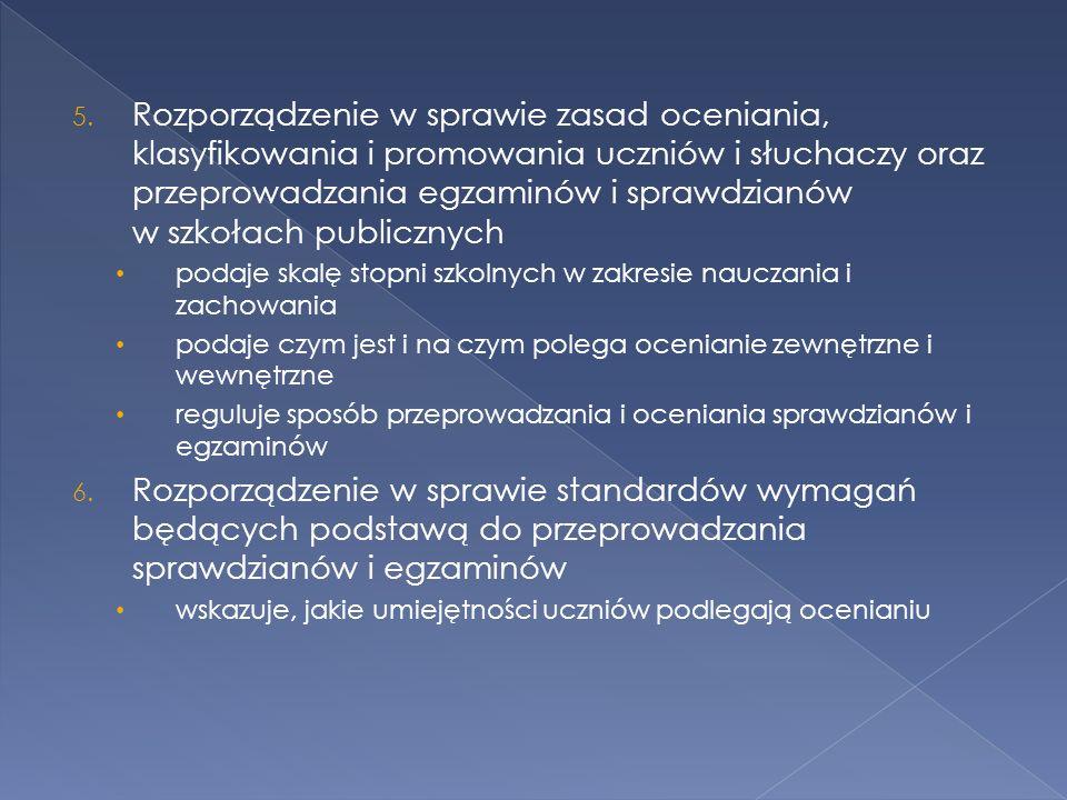 Rozporządzenie w sprawie zasad oceniania, klasyfikowania i promowania uczniów i słuchaczy oraz przeprowadzania egzaminów i sprawdzianów w szkołach publicznych