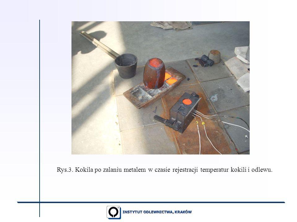 Rys.3. Kokila po zalaniu metalem w czasie rejestracji temperatur kokili i odlewu.