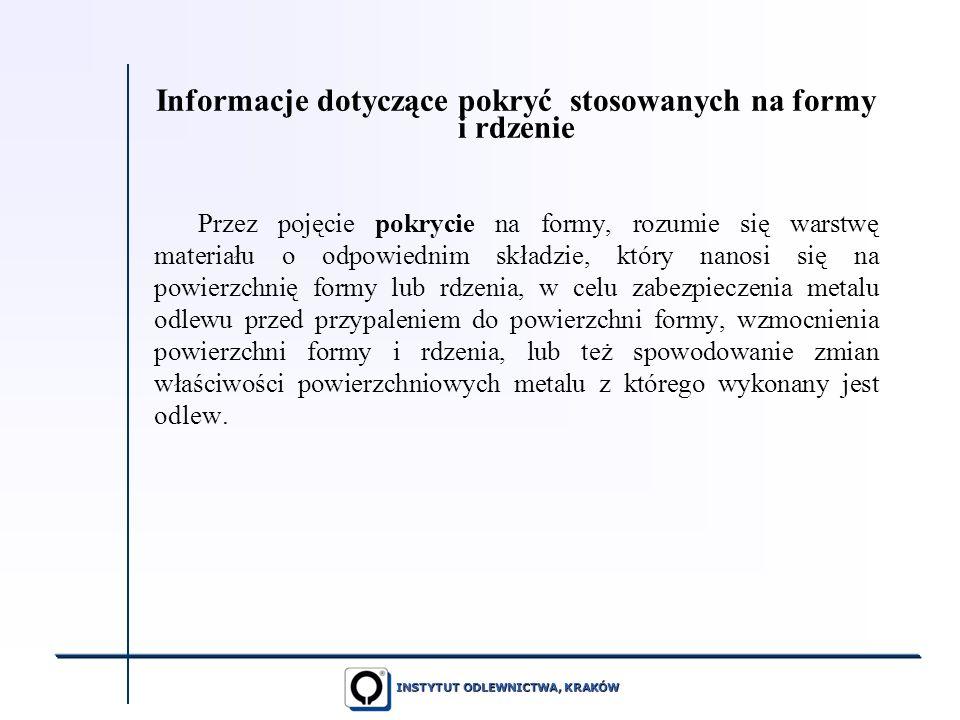 Informacje dotyczące pokryć stosowanych na formy i rdzenie