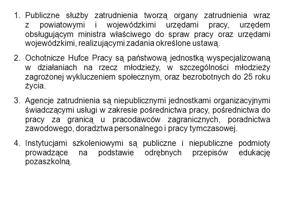 1. Publiczne służby zatrudnienia tworzą organy zatrudnienia wraz