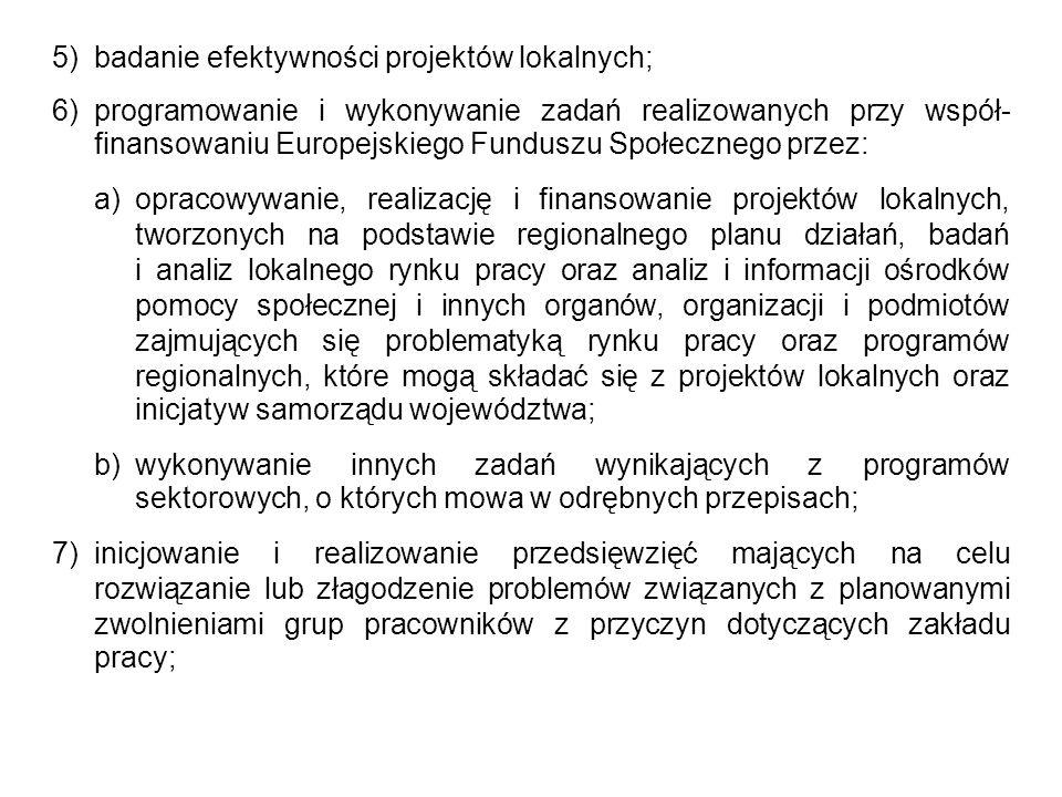 5) badanie efektywności projektów lokalnych;