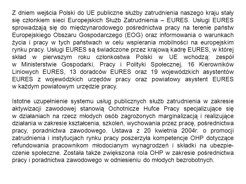 Z dniem wejścia Polski do UE publiczne służby zatrudnienia naszego kraju stały się członkiem sieci Europejskich Służb Zatrudnienia – EURES. Usługi EURES sprowadzają się do międzynarodowego pośrednictwa pracy na terenie państw Europejskiego Obszaru Gospodarczego (EOG) oraz informowania o warunkach życia i pracy w tych państwach w celu wspierania mobilności na europejskim rynku pracy. Usługi EURES są świadczone przez krajową kadrę EURES, w której skład w pierwszym roku członkostwa Polski w UE wchodzą: zespół w Ministerstwie Gospodarki, Pracy i Polityki Społecznej, 16 Kierowników Liniowych EURES, 13 doradców EURES oraz 19 wojewódzkich asystentów EURES z wojewódzkich urzędów pracy oraz powiatowy asystent EURES w każdym powiatowym urzędzie pracy.