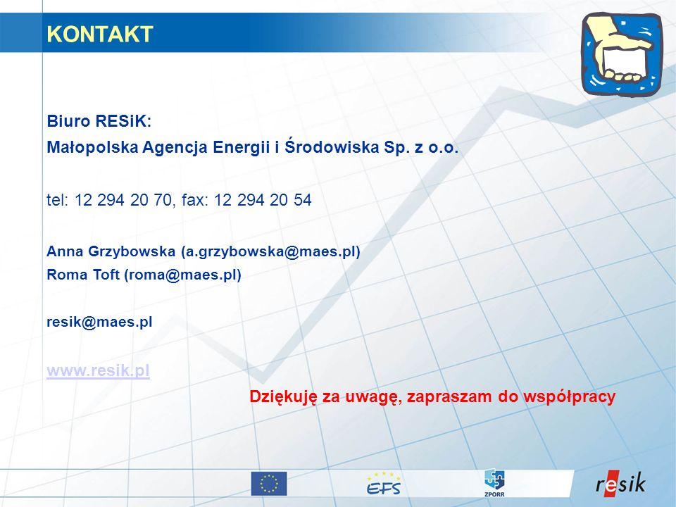 KONTAKT Biuro RESiK: Małopolska Agencja Energii i Środowiska Sp. z o.o. tel: 12 294 20 70, fax: 12 294 20 54.