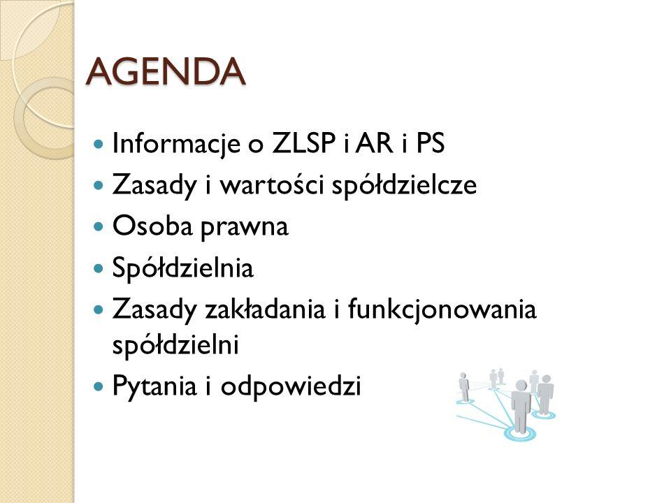 AGENDA Informacje o ZLSP i AR i PS Zasady i wartości spółdzielcze