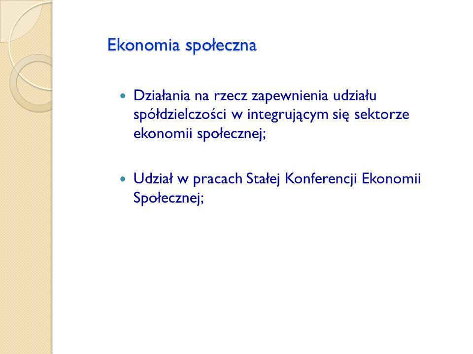 Ekonomia społeczna Działania na rzecz zapewnienia udziału spółdzielczości w integrującym się sektorze ekonomii społecznej;