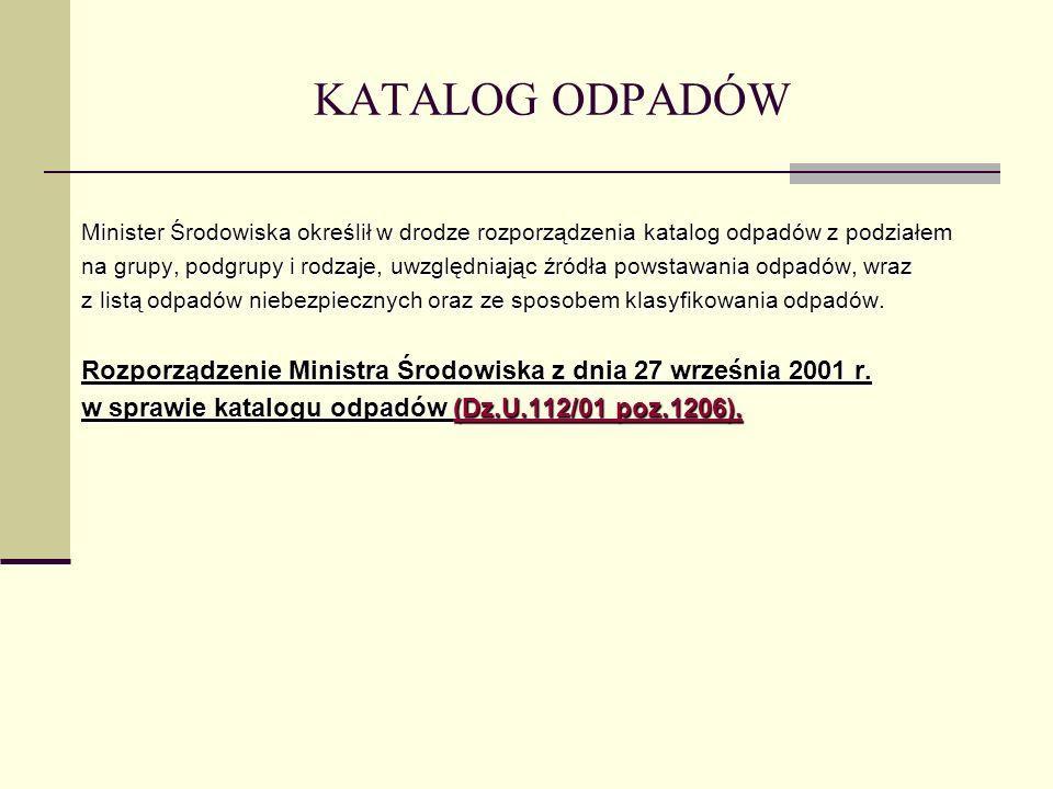 KATALOG ODPADÓW Minister Środowiska określił w drodze rozporządzenia katalog odpadów z podziałem.