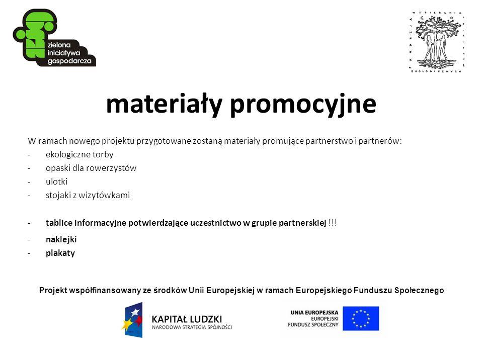 materiały promocyjne W ramach nowego projektu przygotowane zostaną materiały promujące partnerstwo i partnerów: