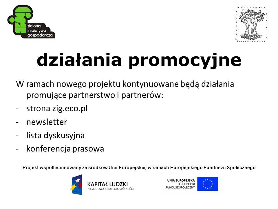 działania promocyjne W ramach nowego projektu kontynuowane będą działania promujące partnerstwo i partnerów: