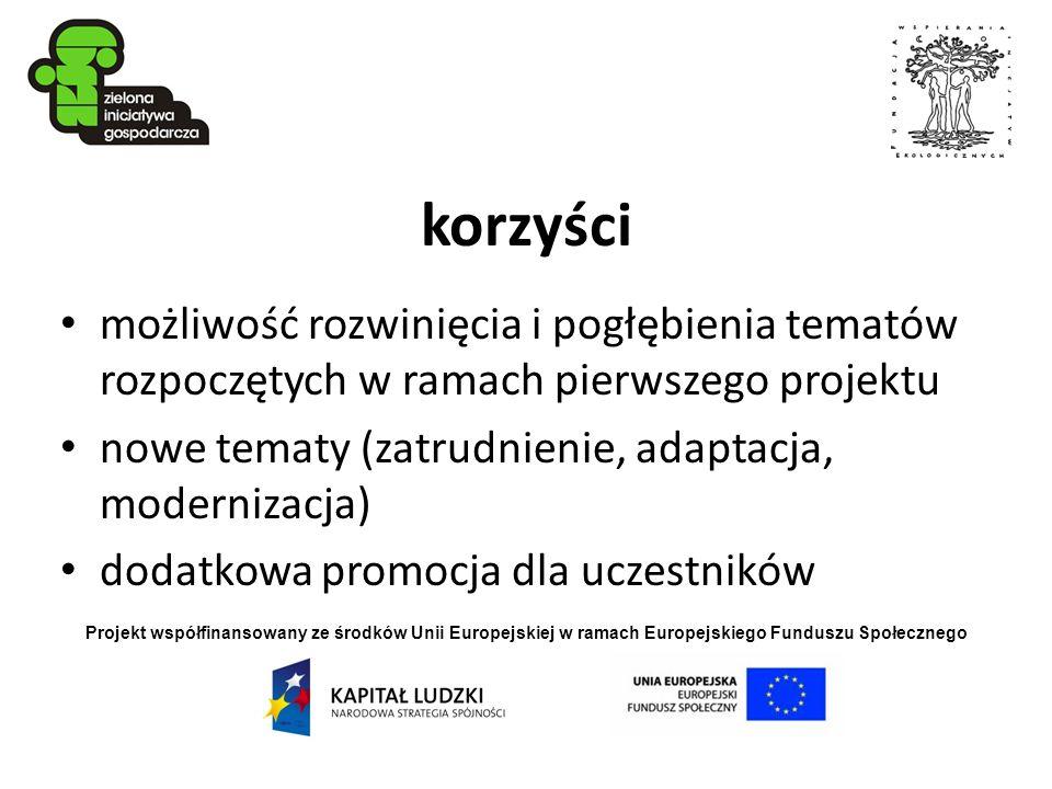korzyści możliwość rozwinięcia i pogłębienia tematów rozpoczętych w ramach pierwszego projektu. nowe tematy (zatrudnienie, adaptacja, modernizacja)