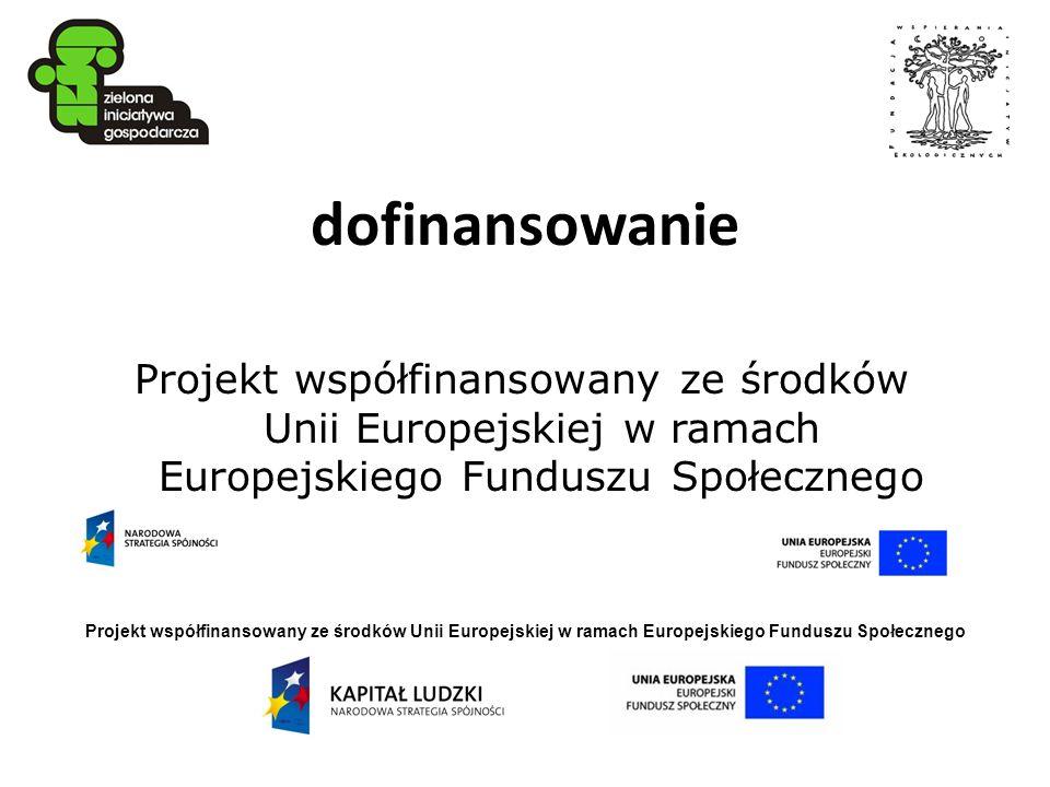 dofinansowanie Projekt współfinansowany ze środków Unii Europejskiej w ramach Europejskiego Funduszu Społecznego.