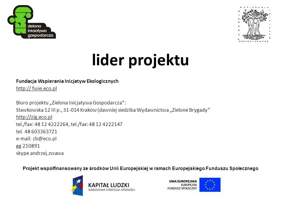 lider projektu Fundacja Wspierania Inicjatyw Ekologicznych