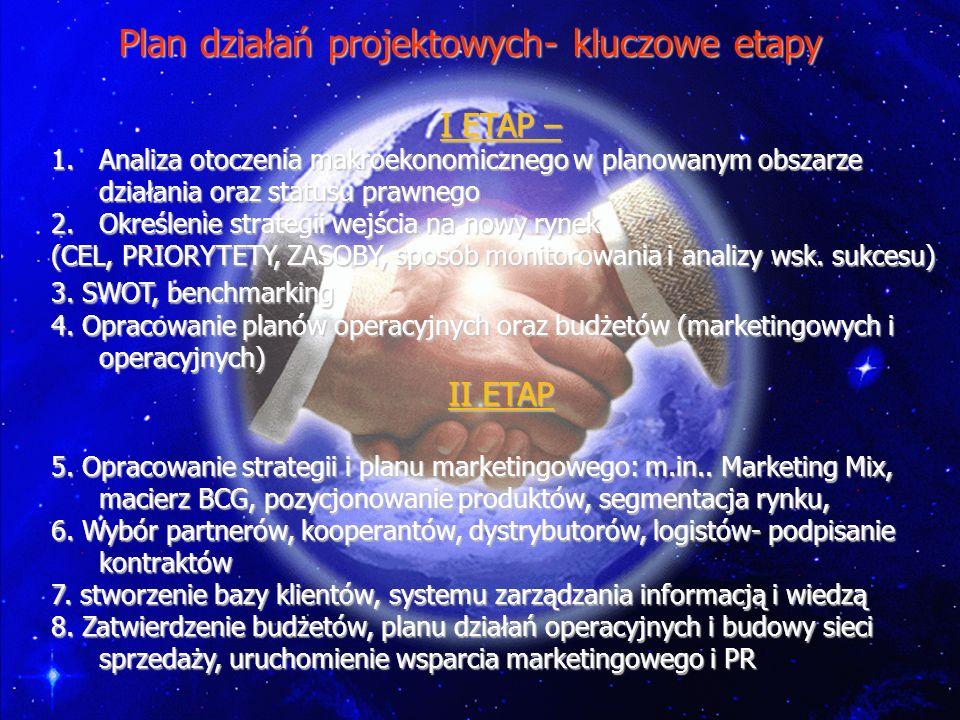 Plan działań projektowych- kluczowe etapy