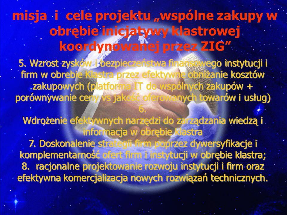 """misja i cele projektu """"wspólne zakupy w obrębie inicjatywy klastrowej koordynowanej przez ZIG"""