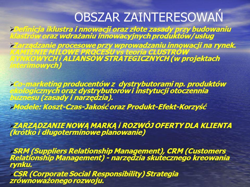OBSZAR ZAINTERESOWAŃ Definicja iklustra i nnowacji oraz złote zasady przy budowaniu klastrów oraz wdrażaniu innowacyjnych produktów/usług.