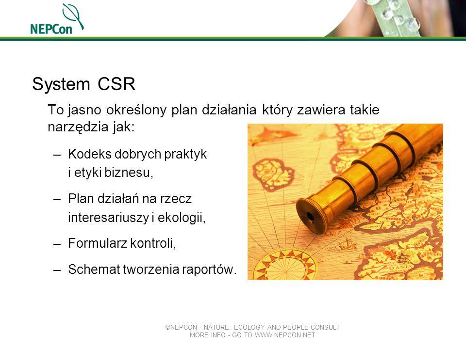System CSR To jasno określony plan działania który zawiera takie narzędzia jak: Kodeks dobrych praktyk.