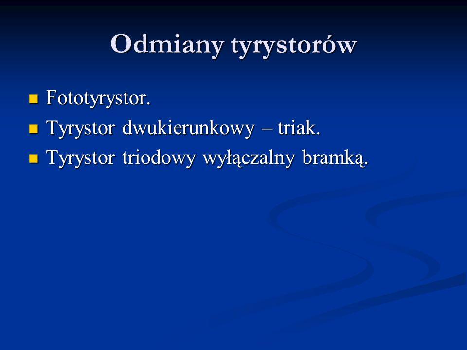 Odmiany tyrystorów Fototyrystor. Tyrystor dwukierunkowy – triak.