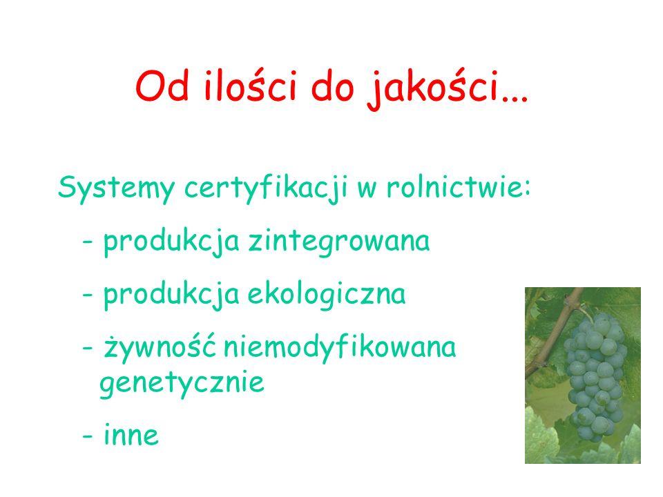 Od ilości do jakości... Systemy certyfikacji w rolnictwie: