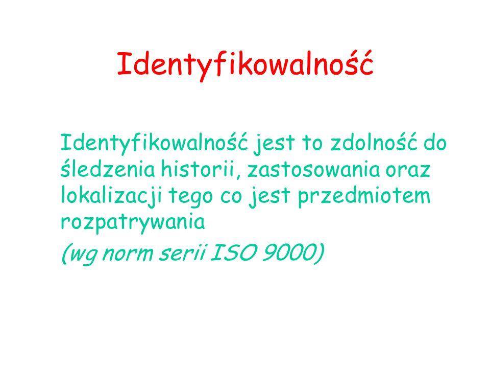 Identyfikowalność Identyfikowalność jest to zdolność do śledzenia historii, zastosowania oraz lokalizacji tego co jest przedmiotem rozpatrywania.