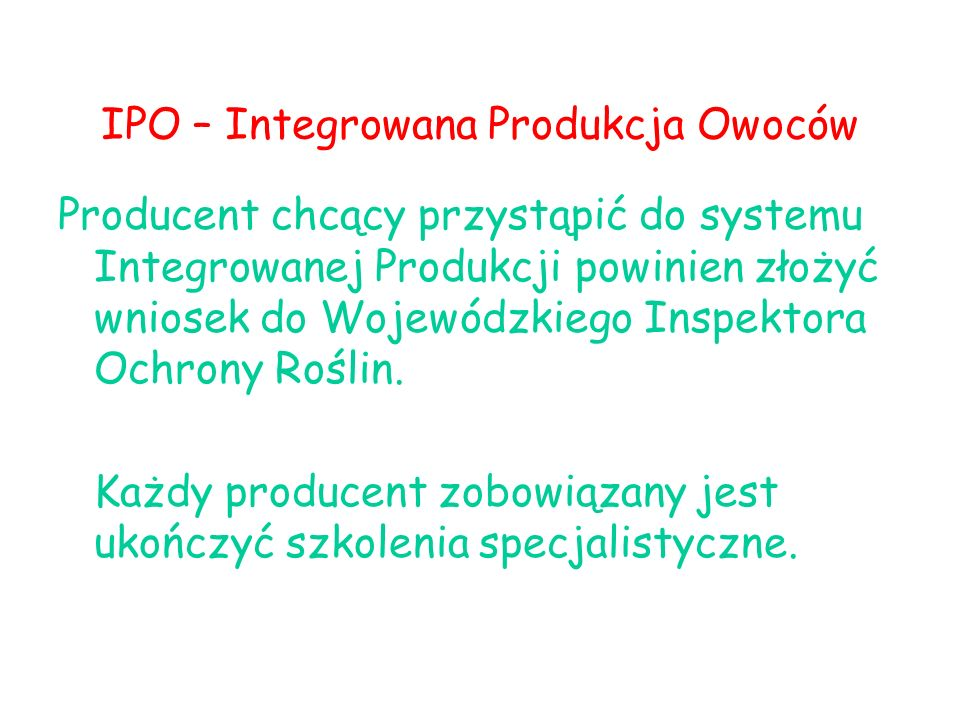 IPO – Integrowana Produkcja Owoców