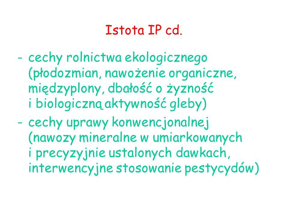 Istota IP cd. cechy rolnictwa ekologicznego (płodozmian, nawożenie organiczne, międzyplony, dbałość o żyzność i biologiczną aktywność gleby)