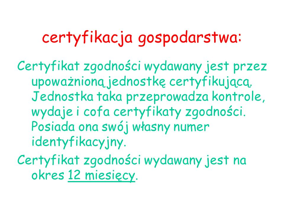 certyfikacja gospodarstwa: