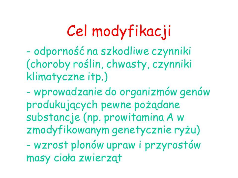 Cel modyfikacji - odporność na szkodliwe czynniki (choroby roślin, chwasty, czynniki klimatyczne itp.)