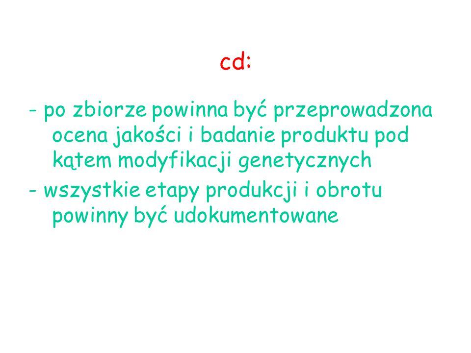 cd: - po zbiorze powinna być przeprowadzona ocena jakości i badanie produktu pod kątem modyfikacji genetycznych.