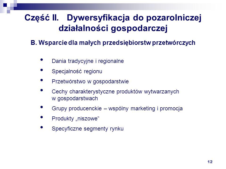 Część II. Dywersyfikacja do pozarolniczej działalności gospodarczej