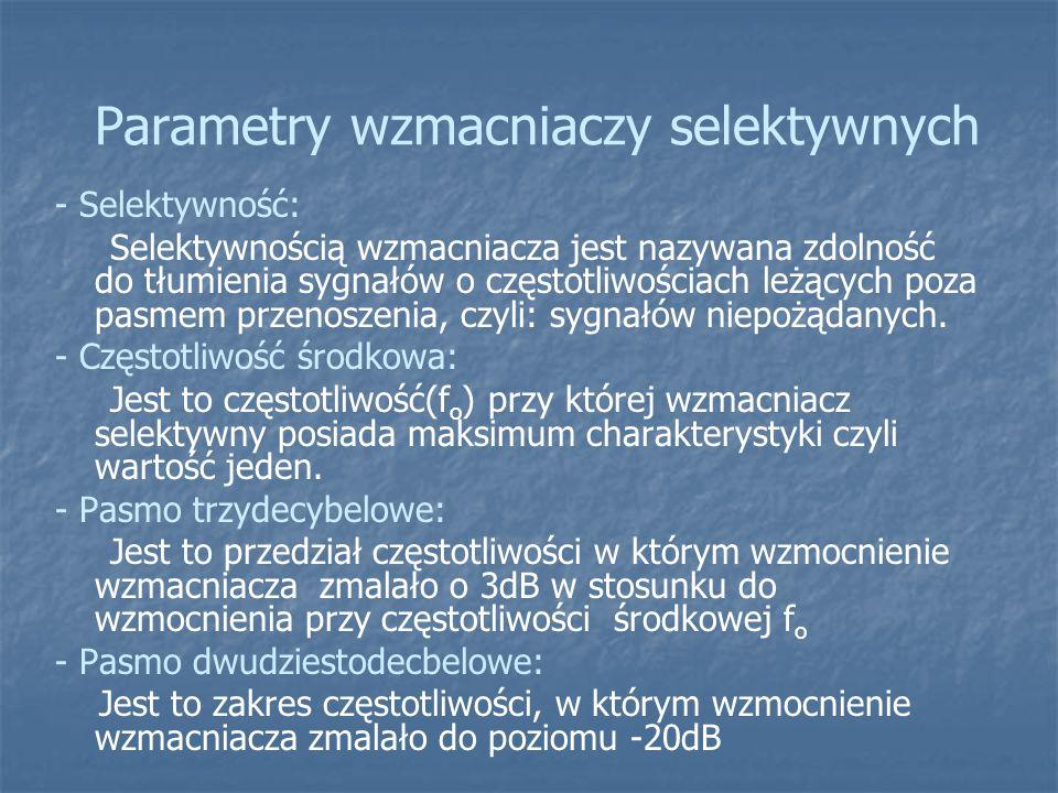 Parametry wzmacniaczy selektywnych