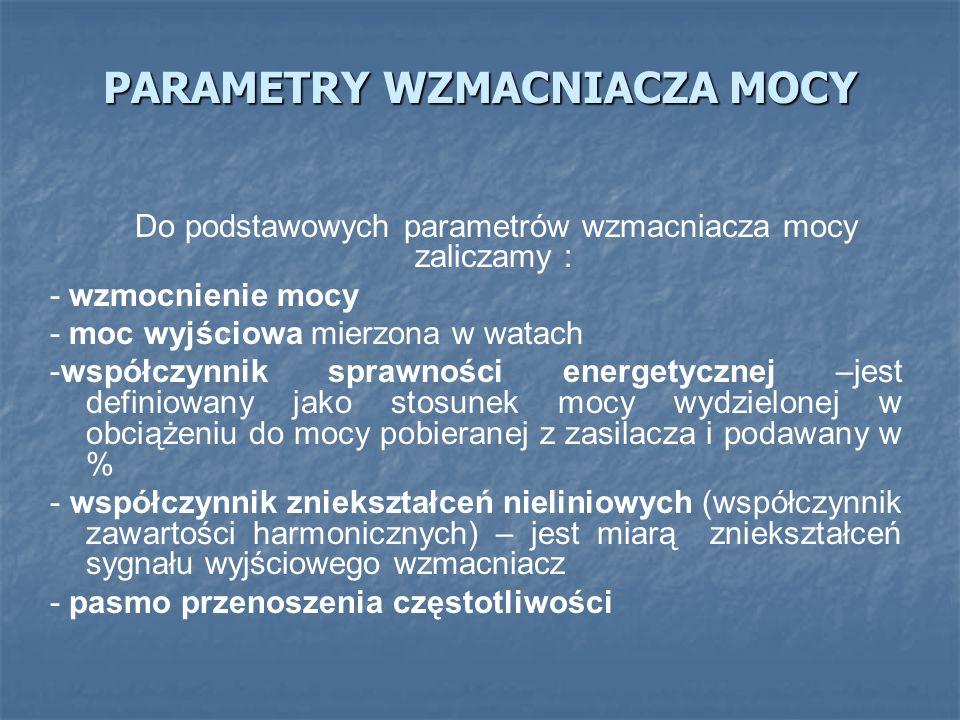 PARAMETRY WZMACNIACZA MOCY