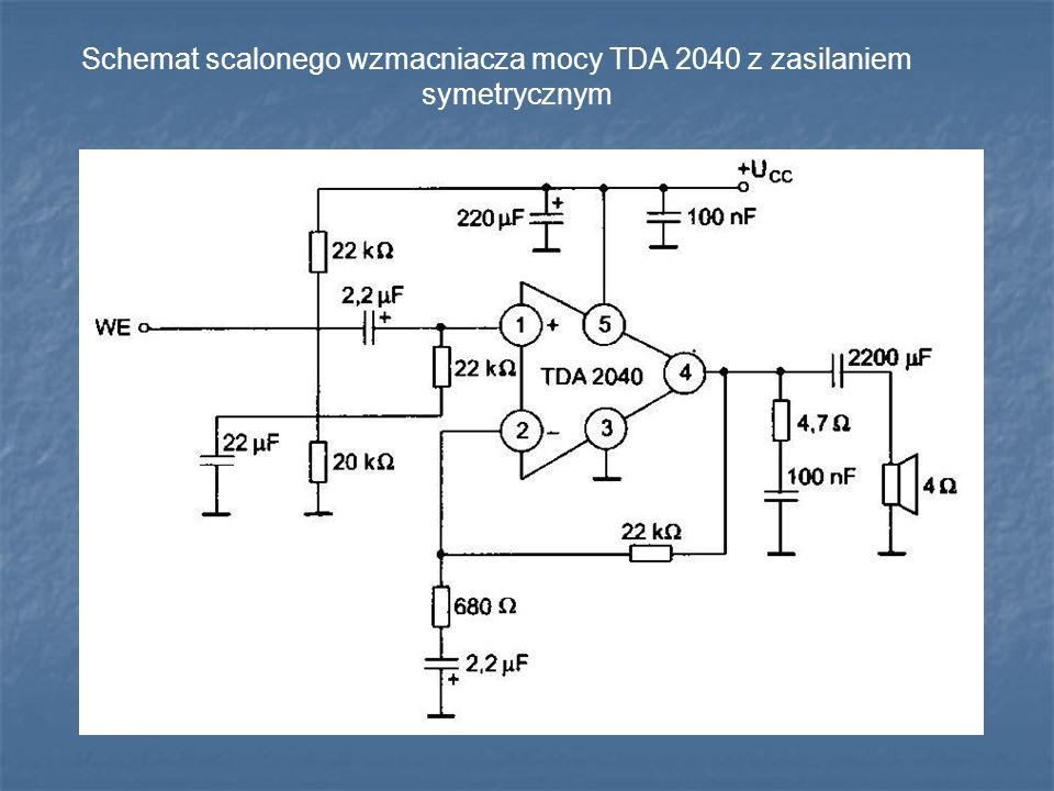Schemat scalonego wzmacniacza mocy TDA 2040 z zasilaniem symetrycznym