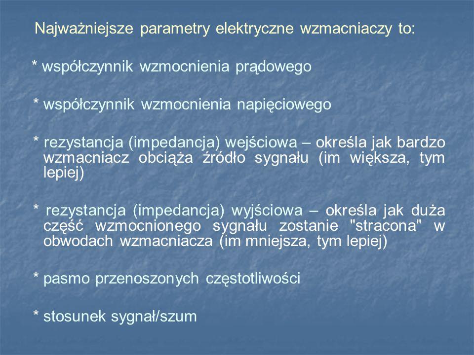 Najważniejsze parametry elektryczne wzmacniaczy to: