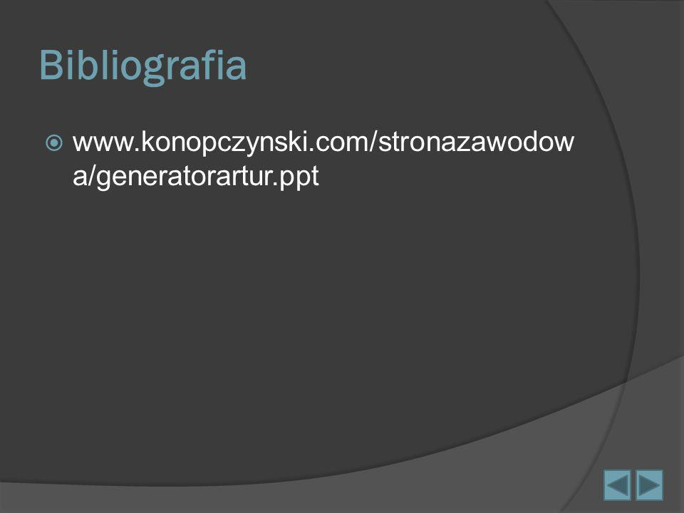 Bibliografia www.konopczynski.com/stronazawodowa/generatorartur.ppt