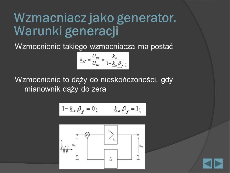 Wzmacniacz jako generator. Warunki generacji