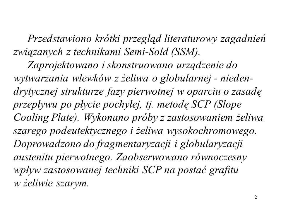 Przedstawiono krótki przegląd literaturowy zagadnień związanych z technikami Semi-Sold (SSM).